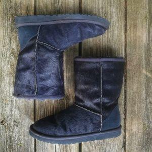 Ugg navy blue calf hair classic short boots size 7
